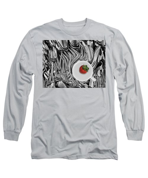 Swirled Flatware And Strawberry Long Sleeve T-Shirt