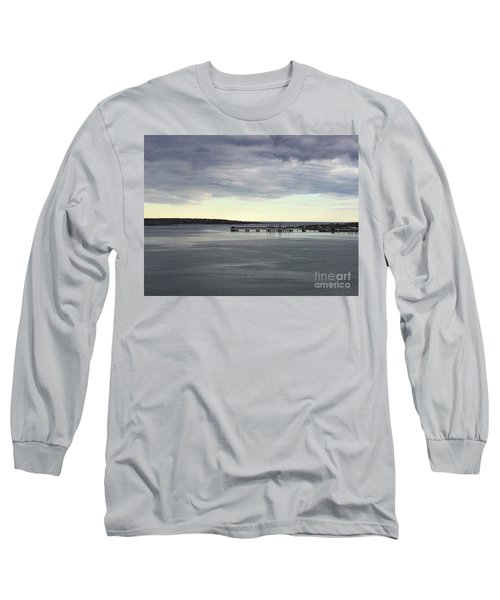 Swirling Currents On Casco Bay Long Sleeve T-Shirt by Patricia E Sundik