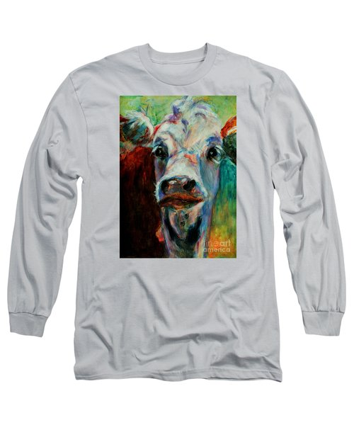 Long Sleeve T-Shirt featuring the painting Swiss Cow - 1 by David  Van Hulst