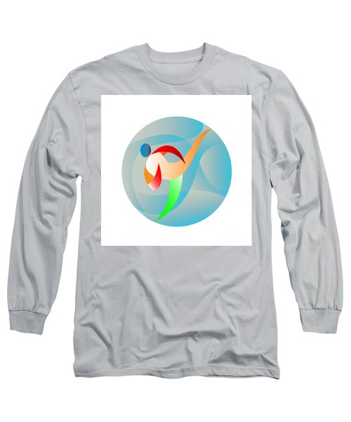 Taekwondo Fighter Kicking Circle Retro Long Sleeve T-Shirt