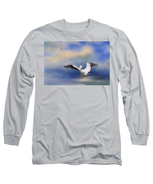 Long Sleeve T-Shirt featuring the photograph Take Off By The Sea by Kim Hojnacki