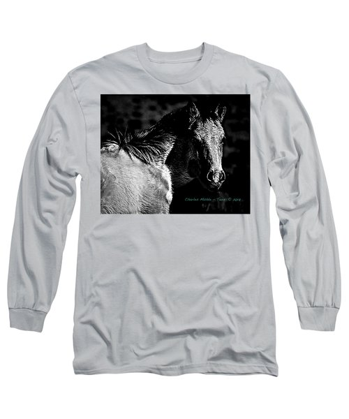 Taos Pony In B-w Long Sleeve T-Shirt