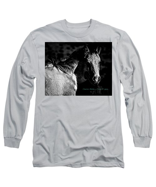 Taos Pony In B-w Long Sleeve T-Shirt