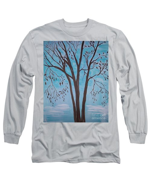 Long Sleeve T-Shirt featuring the painting Teal And Brown by Leslie Allen
