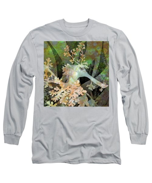 Teal Leafy Sea Dragon Long Sleeve T-Shirt