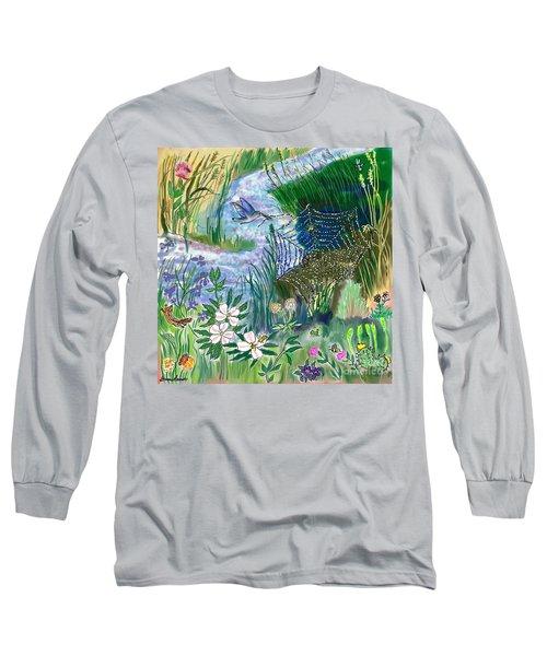 Teen Drawing -- Hummingbird Collecting Silk Long Sleeve T-Shirt by Dawn Senior-Trask