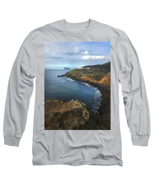 Terceira Island Coast With Ilheus De Cabras And Ponta Das Contendas Lighthouse  Long Sleeve T-Shirt