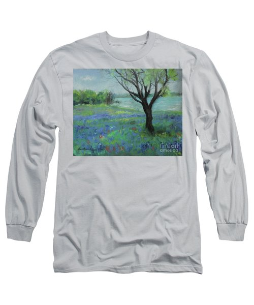 Long Sleeve T-Shirt featuring the painting Texas Bluebonnet Trail by Robin Maria Pedrero
