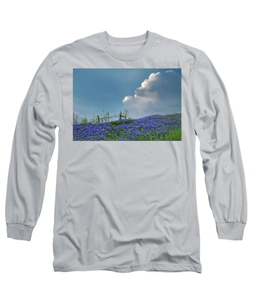 Long Sleeve T-Shirt featuring the photograph Texas Bluebonnets And Spring Showers by David and Carol Kelly