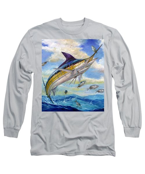 The Blue Marlin Leaping To Eat Long Sleeve T-Shirt