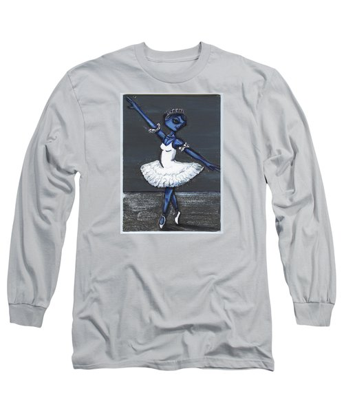 Long Sleeve T-Shirt featuring the painting The Blue Swan by Similar Alien