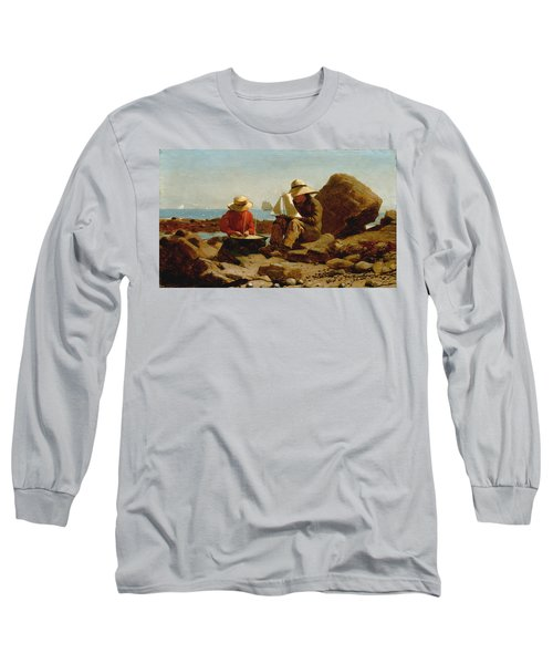 Long Sleeve T-Shirt featuring the painting The Boat Builders - 1873 by Winslow Homer