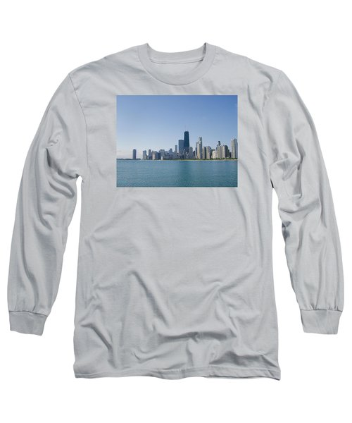 The City Of Chicago Across The Lake Long Sleeve T-Shirt by Skyler Tipton
