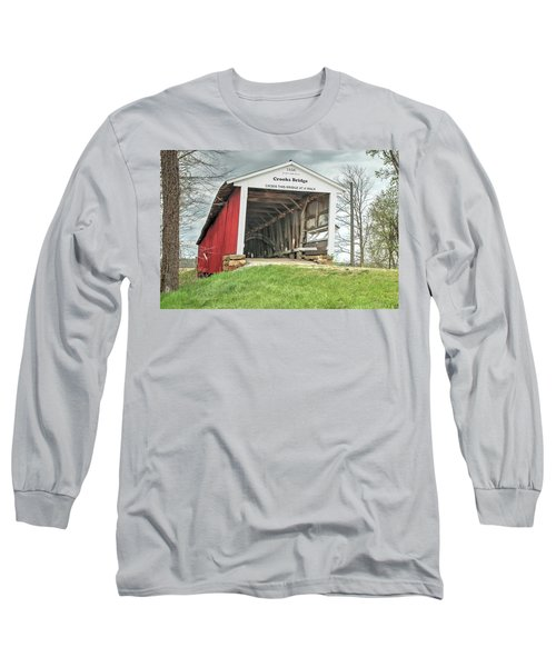 Long Sleeve T-Shirt featuring the photograph The Crooks Covered Bridge by Harold Rau
