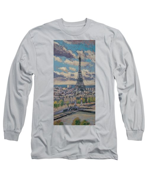 The Eiffel Tower Paris Long Sleeve T-Shirt by Nop Briex