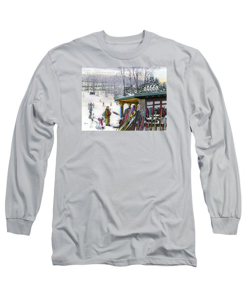 Long Sleeve T-Shirt featuring the painting The Foggy Goggle At Seven Springs by Albert Puskaric
