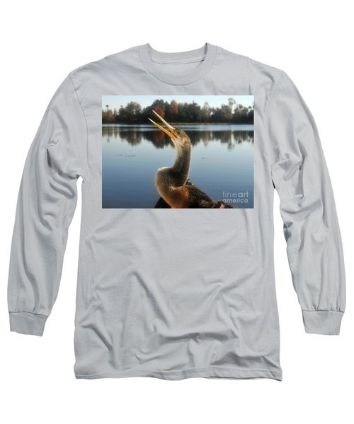 The Great Golden Crested Anhinga Long Sleeve T-Shirt