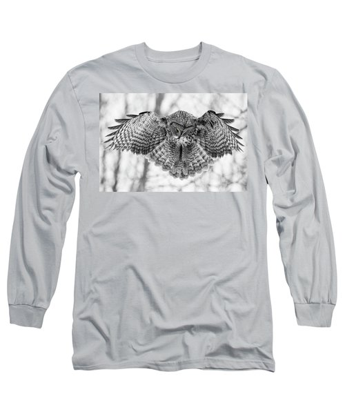 Long Sleeve T-Shirt featuring the photograph The Great Grey Owl In Black And White by Mircea Costina Photography
