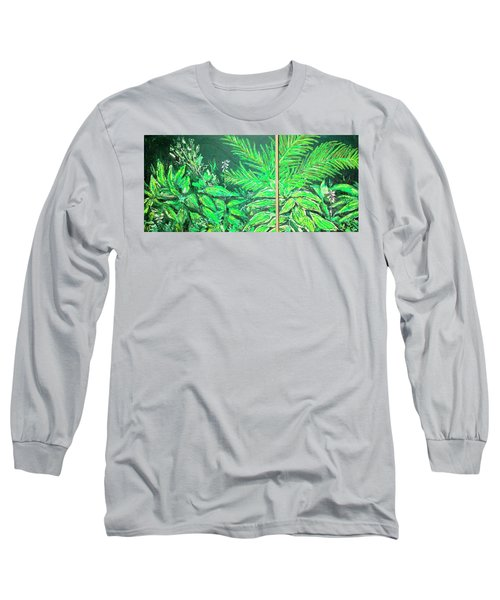 Long Sleeve T-Shirt featuring the painting The Green Flower Garden by Darren Cannell
