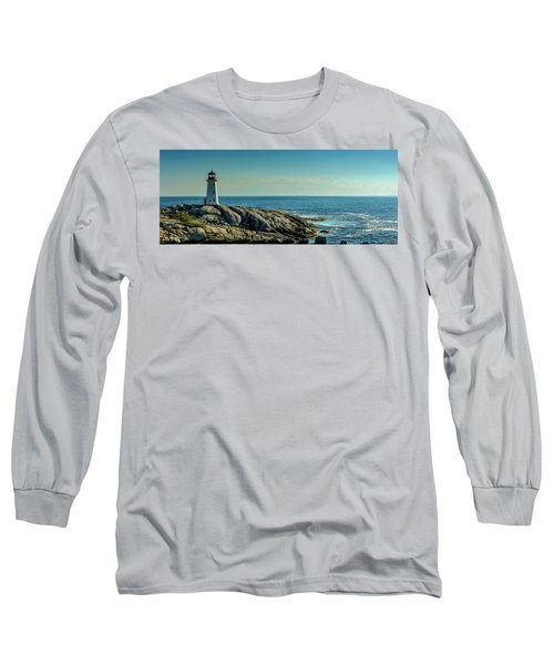 The Iconic Lighthouse At Peggys Cove Long Sleeve T-Shirt by Ken Morris