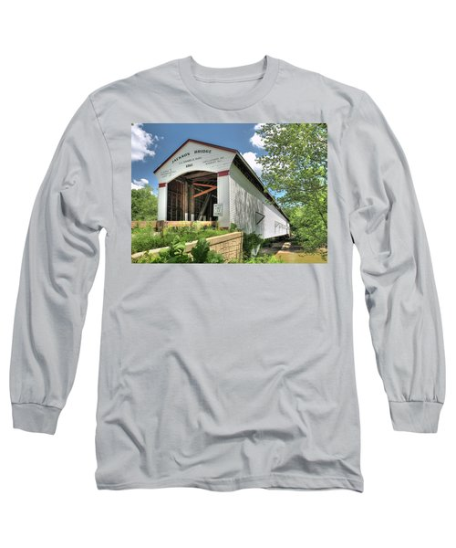 Long Sleeve T-Shirt featuring the photograph The Jackson Covered Bridge by Harold Rau