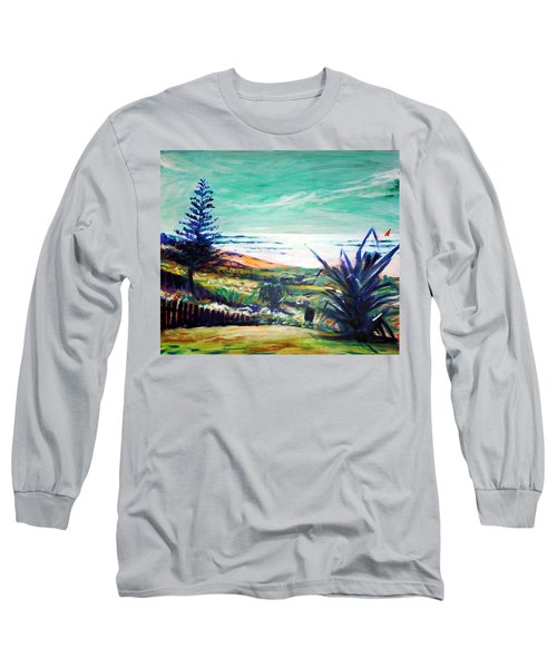 Long Sleeve T-Shirt featuring the painting The Lawn Pandanus by Winsome Gunning