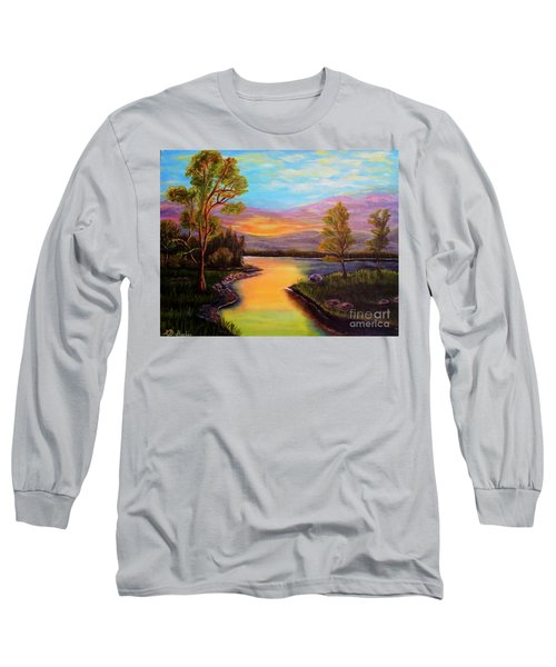 The Liquid Fire Of A Painted Golden Sunset Long Sleeve T-Shirt by Kimberlee Baxter