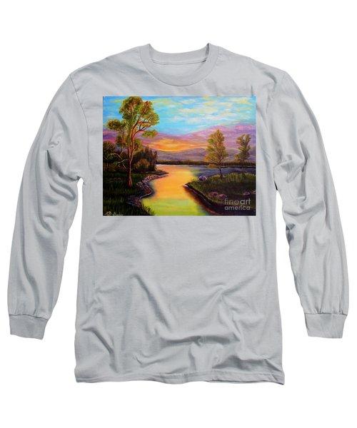 The Liquid Fire Of A Painted Golden Sunset Long Sleeve T-Shirt