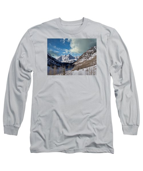 The Maroon Bells Twin Peaks Just Outside Aspen Long Sleeve T-Shirt by Carol M Highsmith