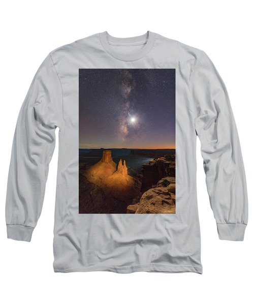 The Milky Way And The Moon From Marlboro Point Long Sleeve T-Shirt