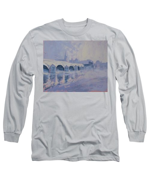 The Old Bridge Of Maastricht In Morning Fog Long Sleeve T-Shirt by Nop Briex