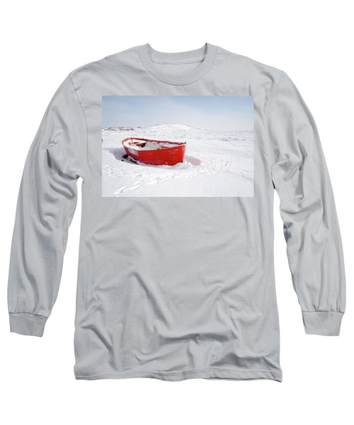 The Red Fishing Boat Long Sleeve T-Shirt by Nick Mares