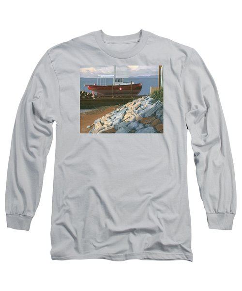 Long Sleeve T-Shirt featuring the painting The Red Troller Revisited by Gary Giacomelli