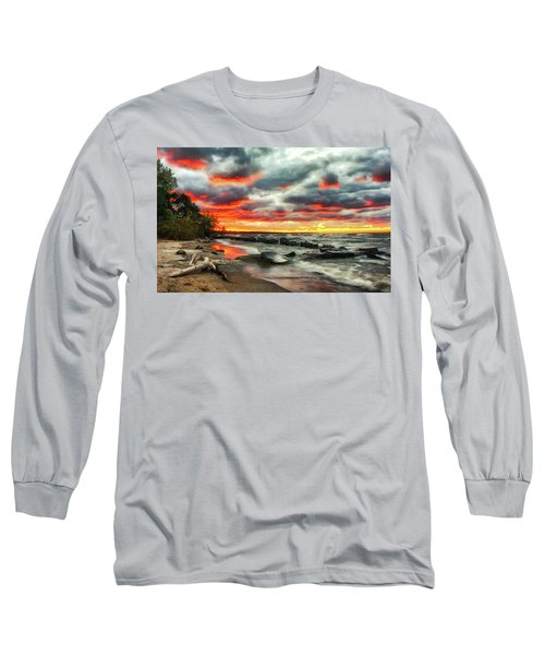 The Sky On Fire At Sunset On Lake Erie Long Sleeve T-Shirt
