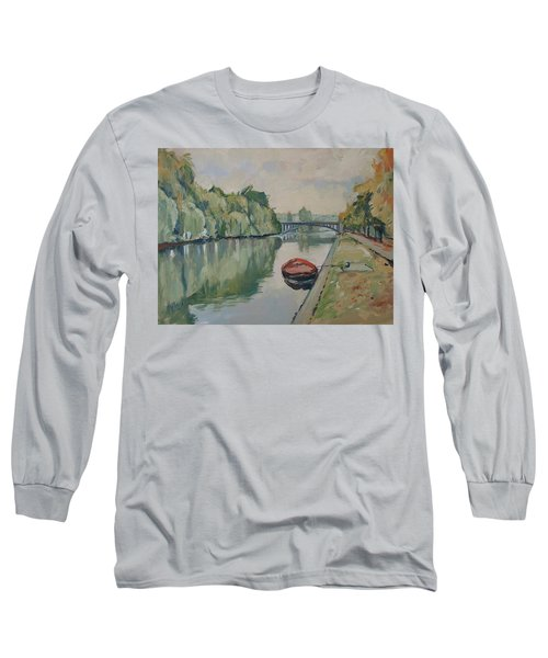 The Small Boat Along The Quai Of Halage Vise Long Sleeve T-Shirt