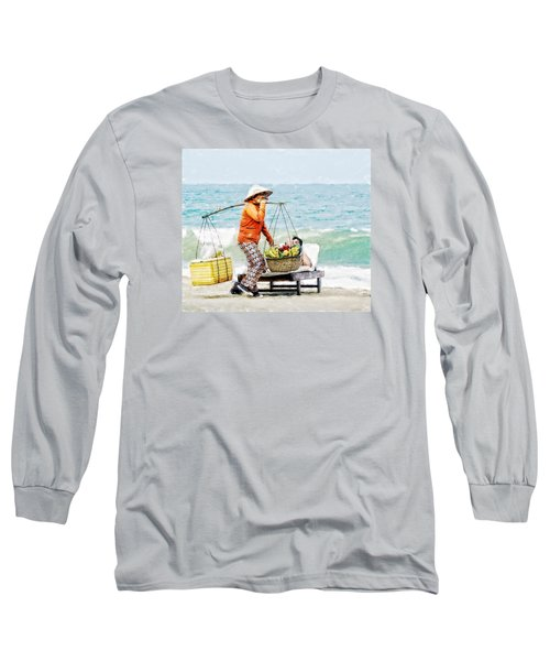 Long Sleeve T-Shirt featuring the digital art The Smiling Vendor by Cameron Wood