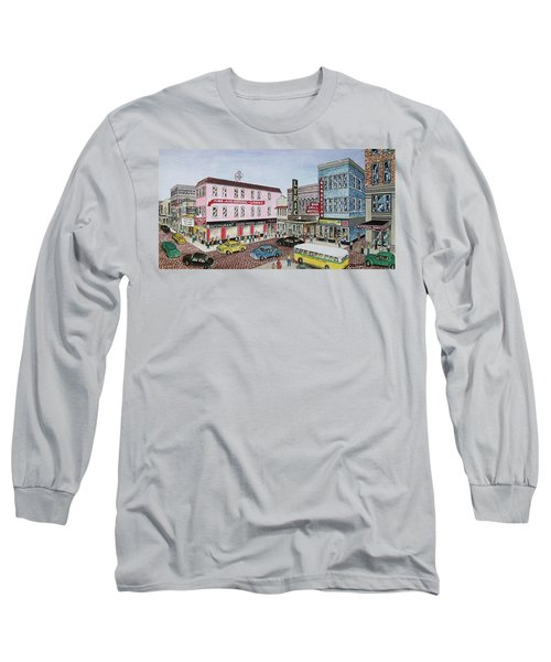The Theater District Portsmouth Ohio 1948 Long Sleeve T-Shirt by Frank Hunter