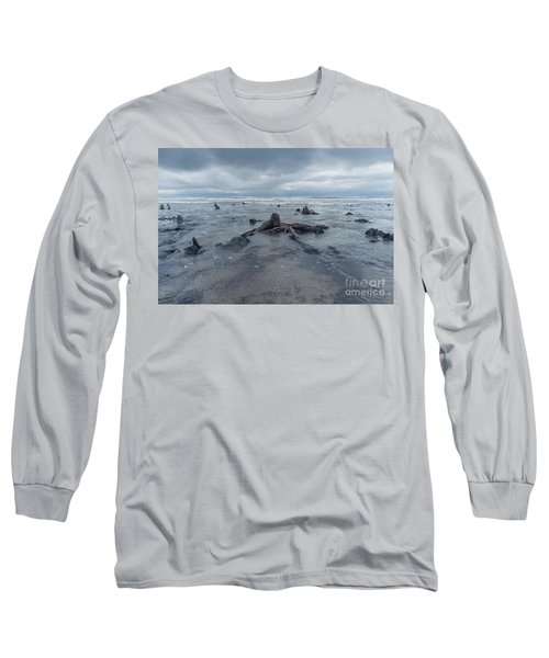 The Tide Comes In Over The Bronze Age Sunken Forest At Borth On The West Wales Coast Uk Long Sleeve T-Shirt