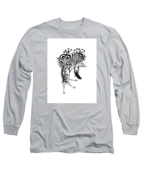 Long Sleeve T-Shirt featuring the drawing The Swing Pen And Ink Drawing Illustration by Saribelle Rodriguez