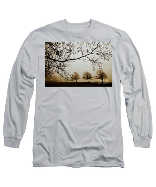 Long Sleeve T-Shirt featuring the photograph Three Cypress In The Mist by Iris Greenwell