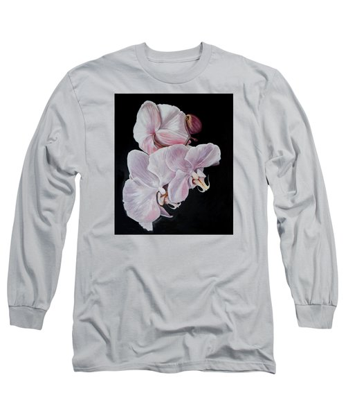 Long Sleeve T-Shirt featuring the painting Three Orchids by Sandra Nardone