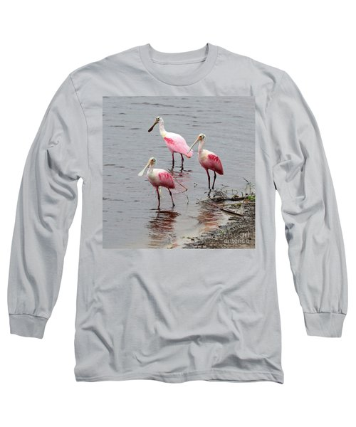 Three Roseate Spoonbills Square Long Sleeve T-Shirt by Carol Groenen