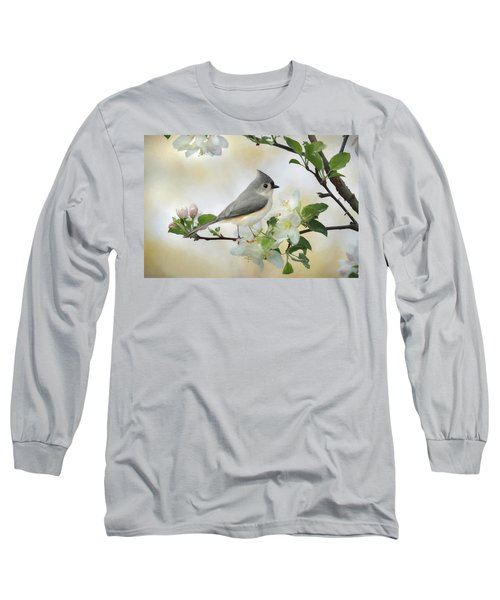 Long Sleeve T-Shirt featuring the mixed media Titmouse In Blossoms 1 by Lori Deiter