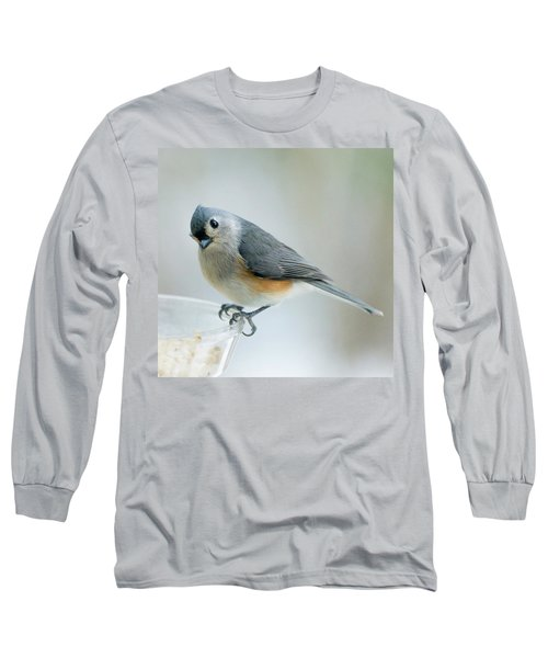 Long Sleeve T-Shirt featuring the photograph Titmouse With Walnuts by Shara Weber