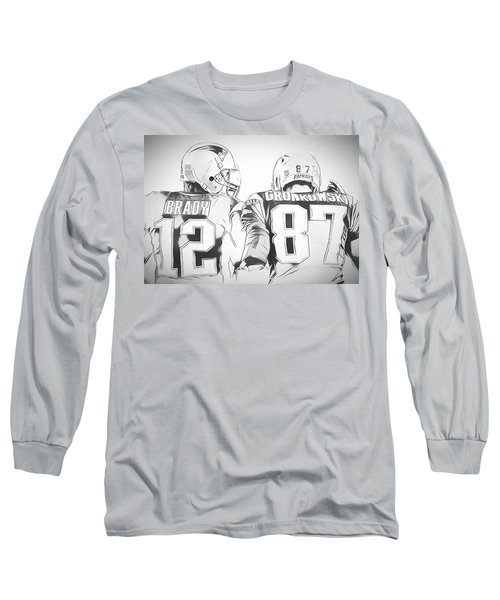 Long Sleeve T-Shirt featuring the drawing Tom Brady Rob Gronkowski Sketch by Dan Sproul