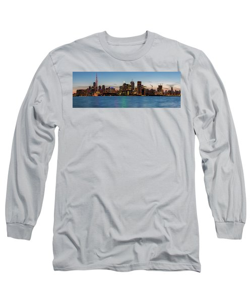 Long Sleeve T-Shirt featuring the photograph Toronto Skyline At Dusk Panoramic by Adam Romanowicz