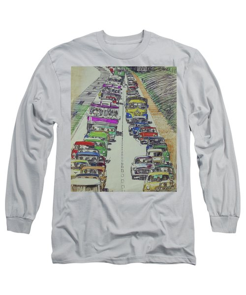 Long Sleeve T-Shirt featuring the drawing Traffic 1960s. by Mike Jeffries