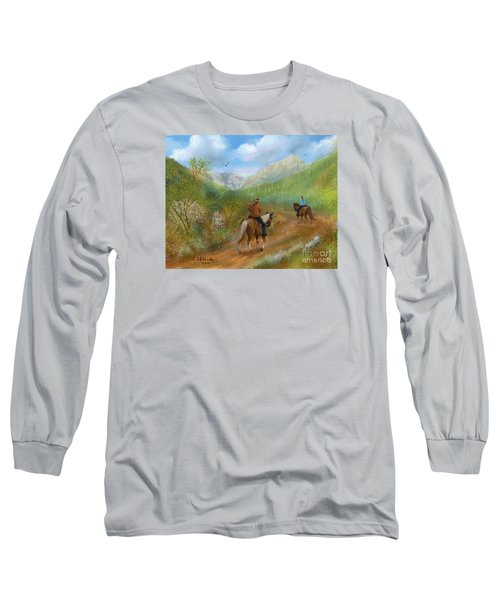 Long Sleeve T-Shirt featuring the painting Trail Ride In Sabino Canyon by Judy Filarecki