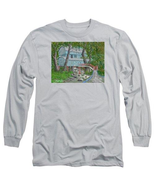Tree House Digital Version Long Sleeve T-Shirt by Jim Hubbard