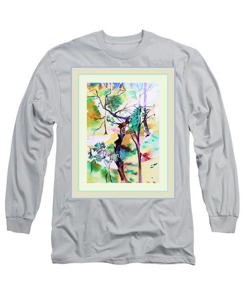 Long Sleeve T-Shirt featuring the painting Tree Lovers by Mindy Newman